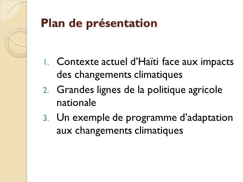 Plan de présentation 1. Contexte actuel dHaïti face aux impacts des changements climatiques 2.