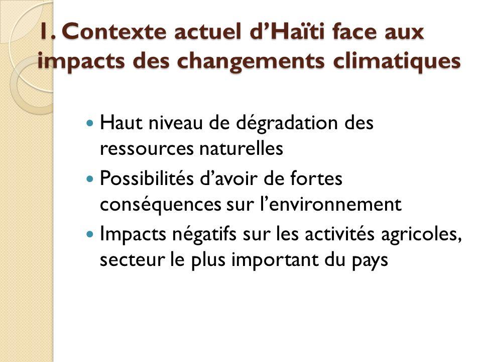 1. Contexte actuel dHaïti face aux impacts des changements climatiques Haut niveau de dégradation des ressources naturelles Possibilités davoir de for
