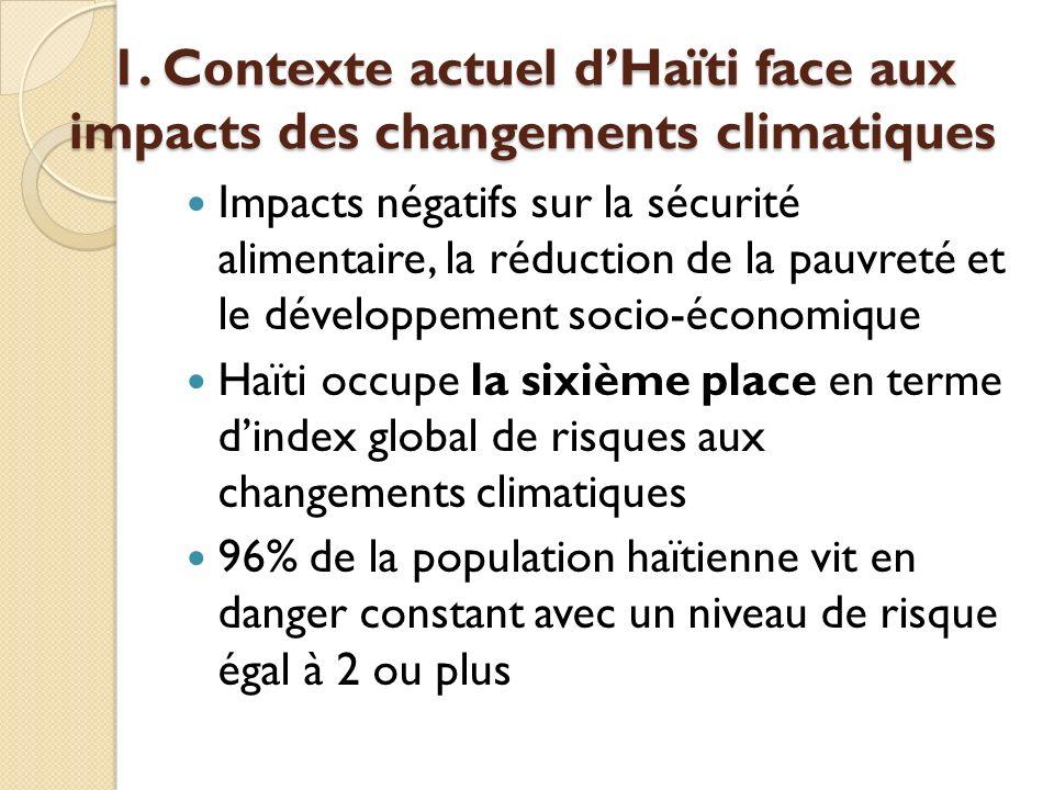 1. Contexte actuel dHaïti face aux impacts des changements climatiques Impacts négatifs sur la sécurité alimentaire, la réduction de la pauvreté et le