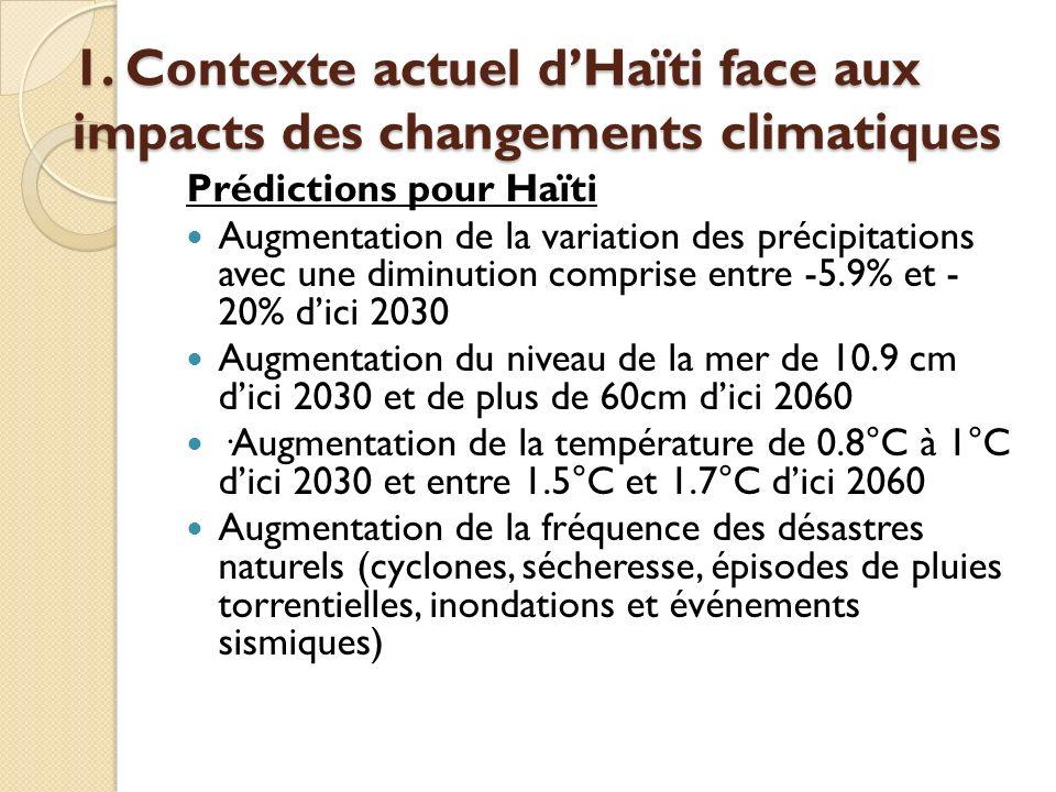 1. Contexte actuel dHaïti face aux impacts des changements climatiques Prédictions pour Haïti Augmentation de la variation des précipitations avec une