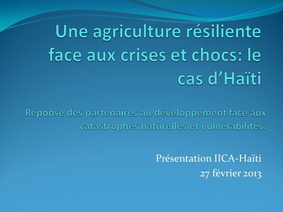 LIICA et Haïti IICA en Haïti: plus de 40 ans de collaboration/ 70 ans Partenaire principal: MARNDR Institution dassistance technique du système de lOEA Axes de coopération (2010-2014) Sécurité alimentaire Santé animale et végétale + innocuité alimentaire Appui institutionnel au MARNDR Coopération horizontale