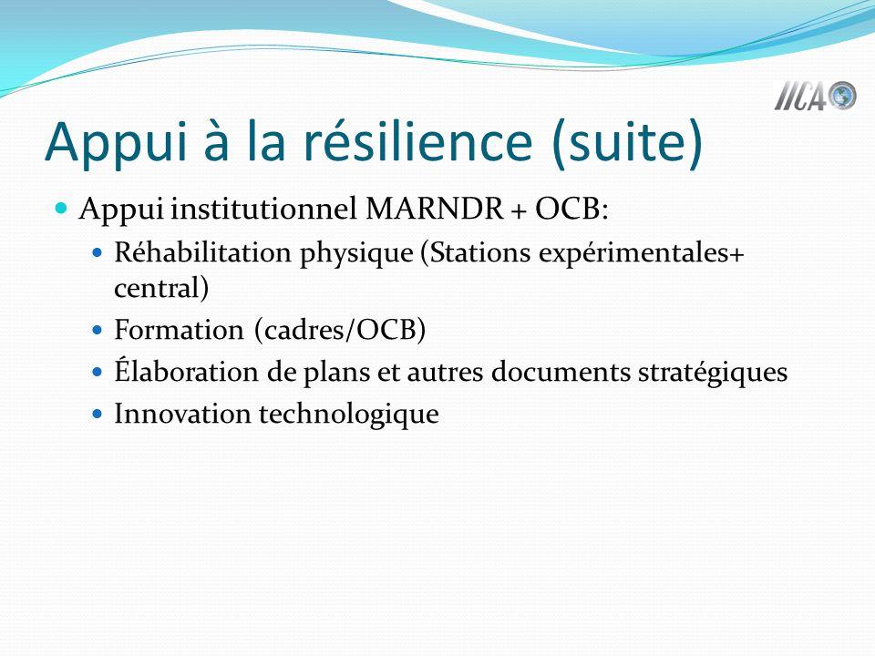 Appui à la résilience (suite) Appui institutionnel MARNDR + OCB: Réhabilitation physique (Stations expérimentales+ central) Formation (cadres/OCB) Élaboration de plans et autres documents stratégiques Innovation technologique