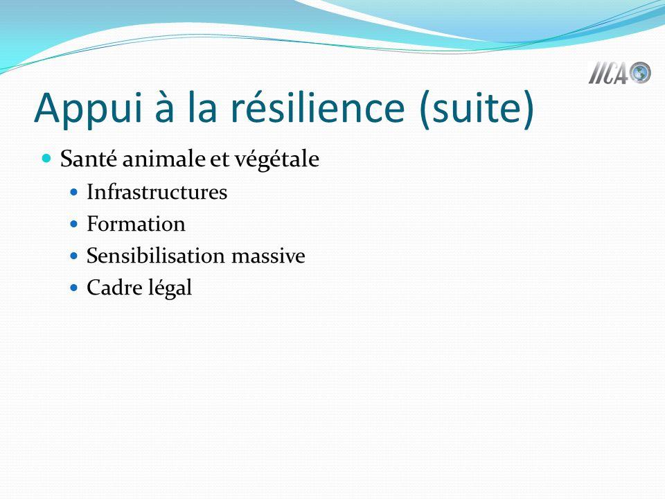 Appui à la résilience (suite) Santé animale et végétale Infrastructures Formation Sensibilisation massive Cadre légal