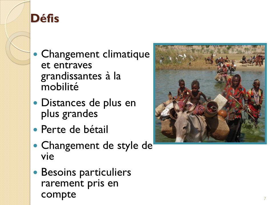 Défis Changement climatique et entraves grandissantes à la mobilité Distances de plus en plus grandes Perte de bétail Changement de style de vie Besoi