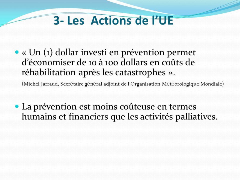 « Un (1) dollar investi en prévention permet déconomiser de 10 à 100 dollars en coûts de réhabilitation après les catastrophes ». (Michel Jarraud, Sec