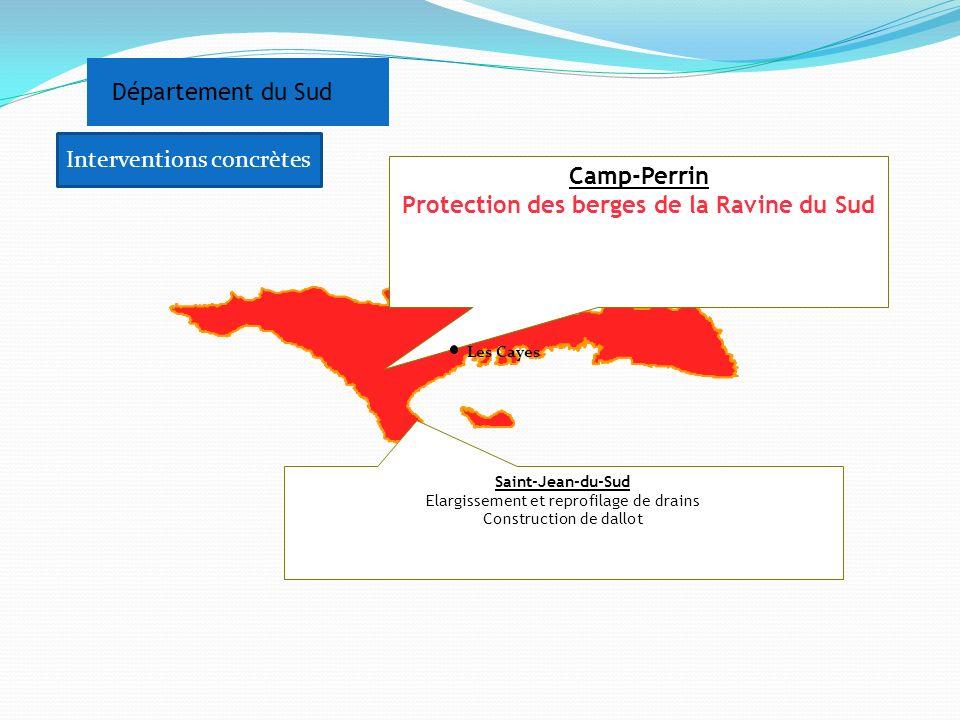Département du Sud Camp-Perrin Protection des berges de la Ravine du Sud Saint-Jean-du-Sud Elargissement et reprofilage de drains Construction de dall