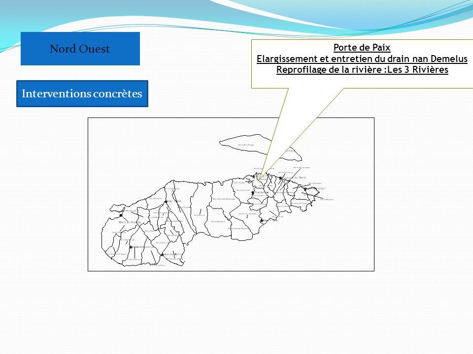 Porte de Paix Elargissement et entretien du drain nan Demelus Reprofilage de la rivière :Les 3 Rivières Nord Ouest Interventions concrètes