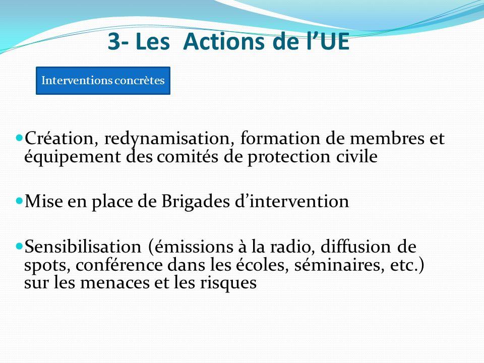 Création, redynamisation, formation de membres et équipement des comités de protection civile Mise en place de Brigades dintervention Sensibilisation