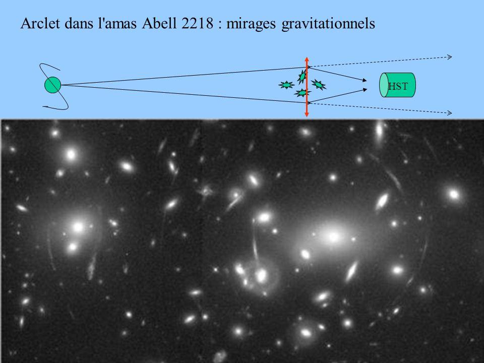 44 arcA2218.jpg Arclet dans l'amas Abell 2218 : mirages gravitationnels HST