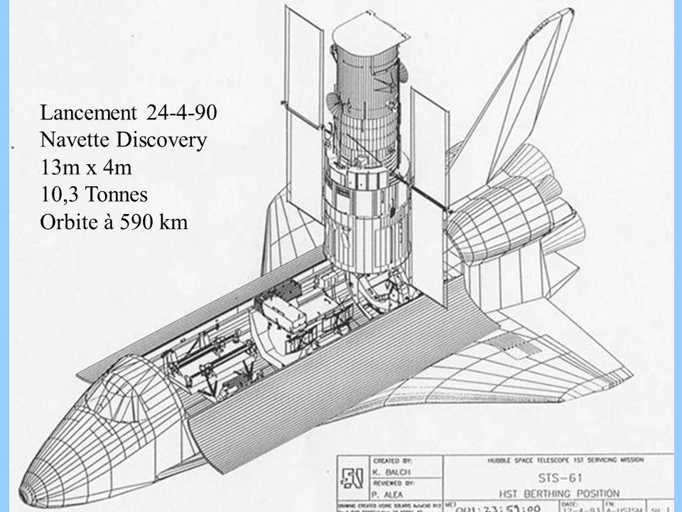 9 hst shuttle Lancement 24-4-90 Navette Discovery 13m x 4m 10,3 Tonnes Orbite à 590 km