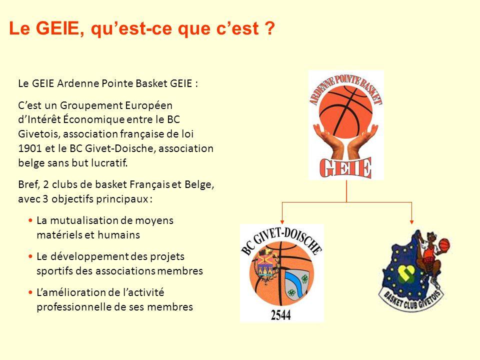 Le GEIE Ardenne Pointe Basket GEIE : Cest un Groupement Européen dIntérêt Économique entre le BC Givetois, association française de loi 1901 et le BC Givet-Doische, association belge sans but lucratif.