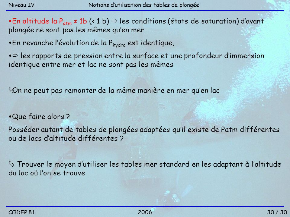 30 / 30 Notions dutilisation des tables de plongéeNiveau IV En altitude la P atm 1b (< 1 b) les conditions (états de saturation) davant plongée ne son