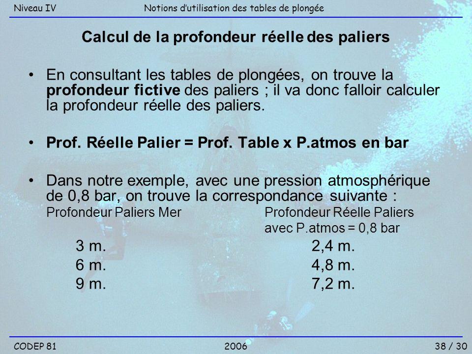 Calcul de la profondeur réelle des paliers En consultant les tables de plongées, on trouve la profondeur fictive des paliers ; il va donc falloir calc