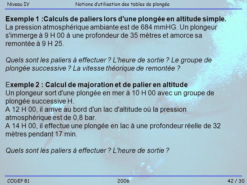 Exemple 1 :Calculs de paliers lors d'une plongée en altitude simple. La pression atmosphérique ambiante est de 684 mmHG. Un plongeur s'immerge à 9 H 0