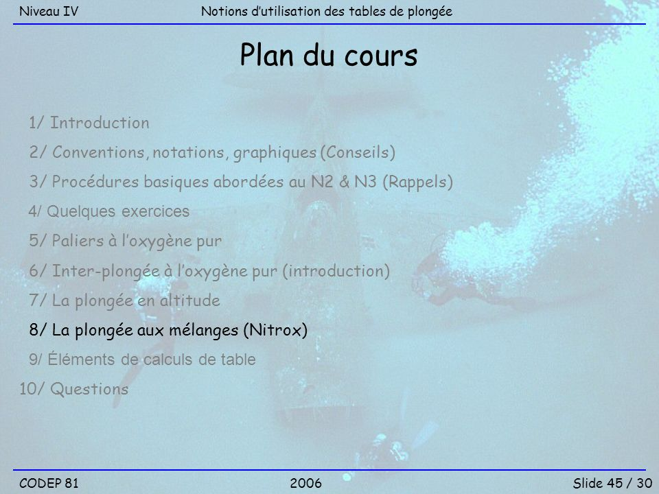 CODEP 81Slide 45 / 30 Notions dutilisation des tables de plongéeNiveau IV 2006 Plan du cours 1/ Introduction 2/ Conventions, notations, graphiques (Co