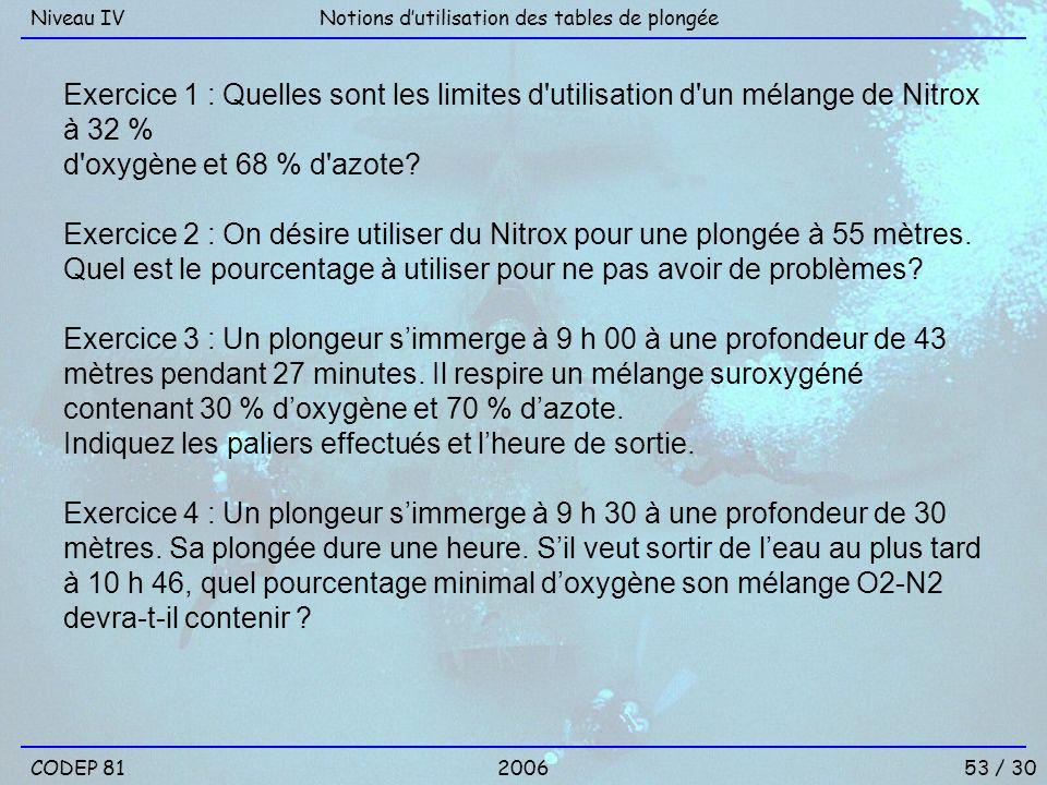 Exercice 1 : Quelles sont les limites d'utilisation d'un mélange de Nitrox à 32 % d'oxygène et 68 % d'azote? Exercice 2 : On désire utiliser du Nitrox
