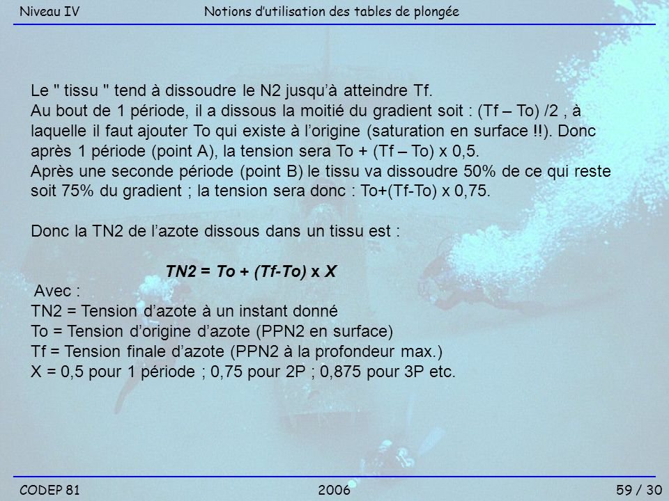 59 / 30 Notions dutilisation des tables de plongéeNiveau IV 2006CODEP 81 Le