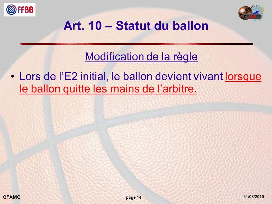 31/08/2010 CFAMC page 14 Art. 10 – Statut du ballon Modification de la règle Lors de lE2 initial, le ballon devient vivant lorsque le ballon quitte le