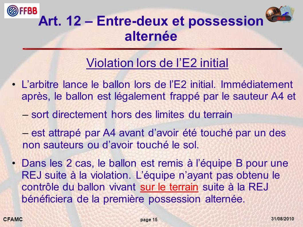 31/08/2010 CFAMC page 15 Art. 12 – Entre-deux et possession alternée Violation lors de lE2 initial Larbitre lance le ballon lors de lE2 initial. Imméd