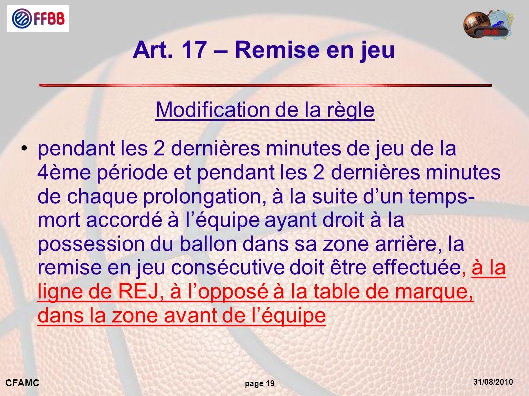 31/08/2010 CFAMC page 19 Art. 17 – Remise en jeu Modification de la règle pendant les 2 dernières minutes de jeu de la 4ème période et pendant les 2 d