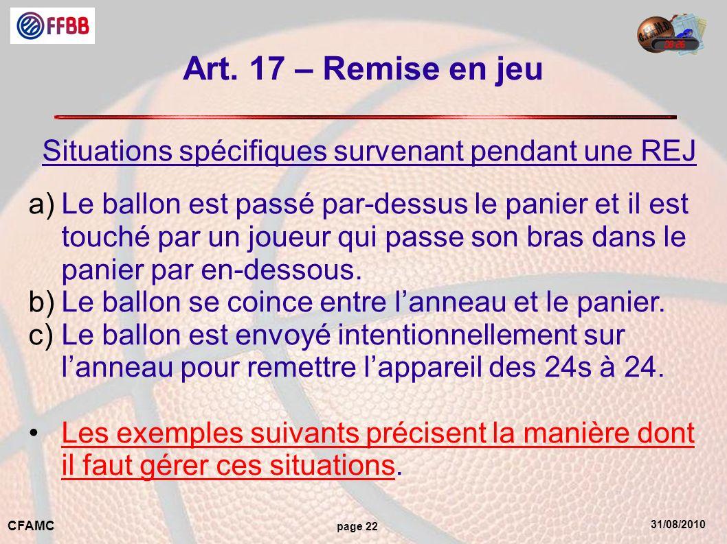31/08/2010 CFAMC page 22 Art. 17 – Remise en jeu Situations spécifiques survenant pendant une REJ a)Le ballon est passé par-dessus le panier et il est