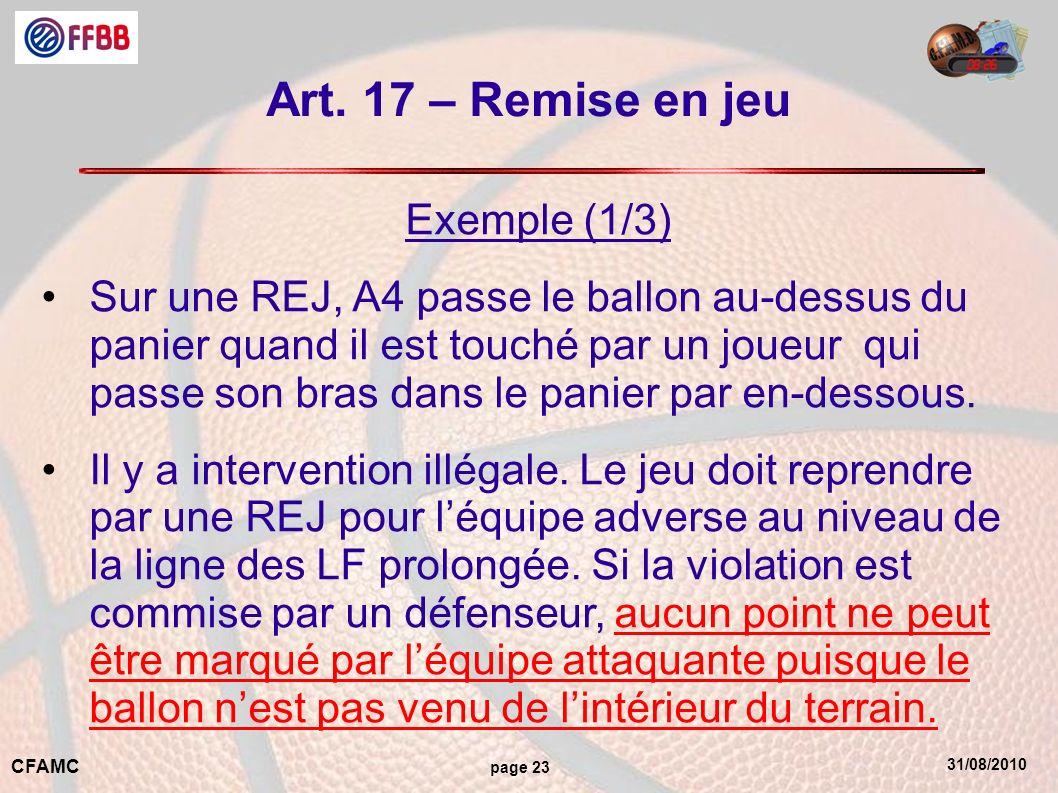 31/08/2010 CFAMC page 23 Art. 17 – Remise en jeu Exemple (1/3) Sur une REJ, A4 passe le ballon au-dessus du panier quand il est touché par un joueur q