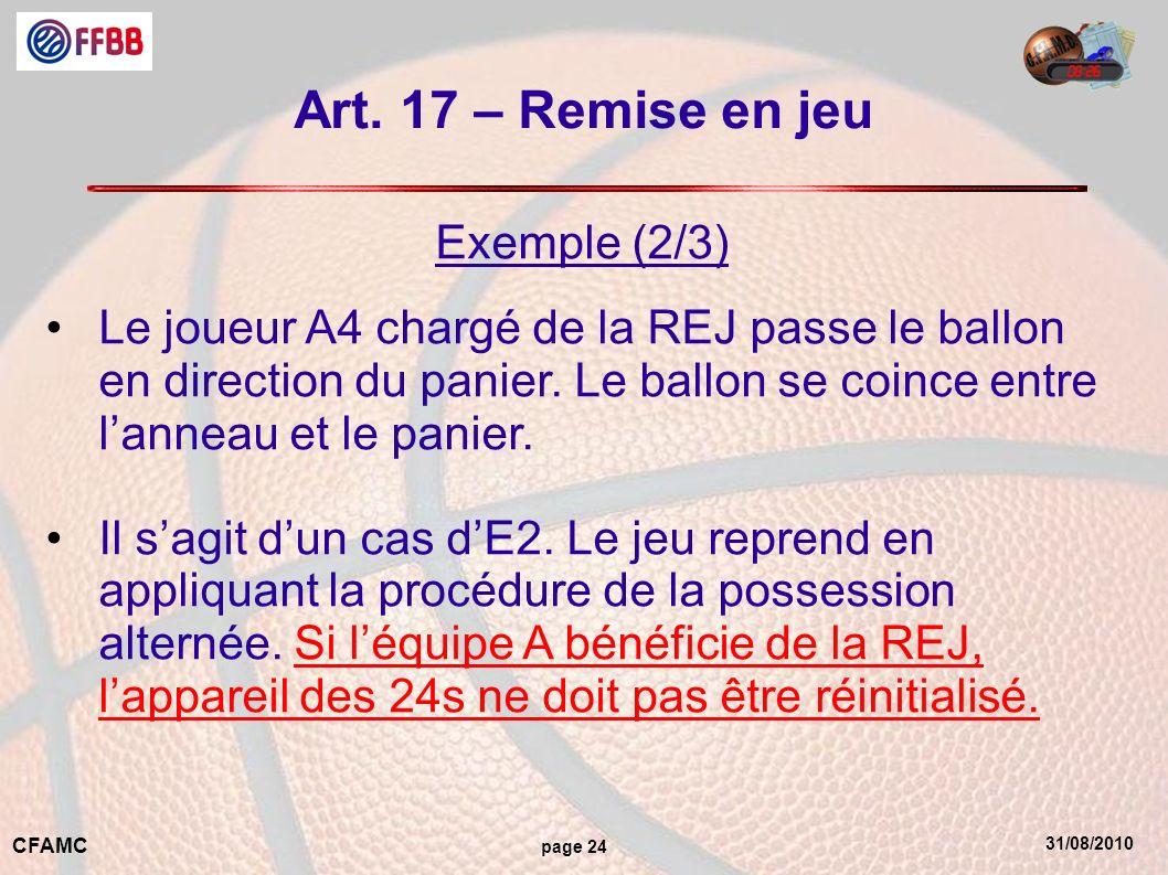 31/08/2010 CFAMC page 24 Art. 17 – Remise en jeu Exemple (2/3) Le joueur A4 chargé de la REJ passe le ballon en direction du panier. Le ballon se coin