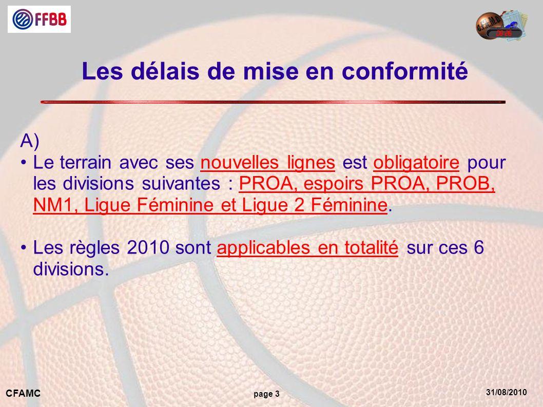 31/08/2010 CFAMC page 3 Les délais de mise en conformité A) Le terrain avec ses nouvelles lignes est obligatoire pour les divisions suivantes : PROA,