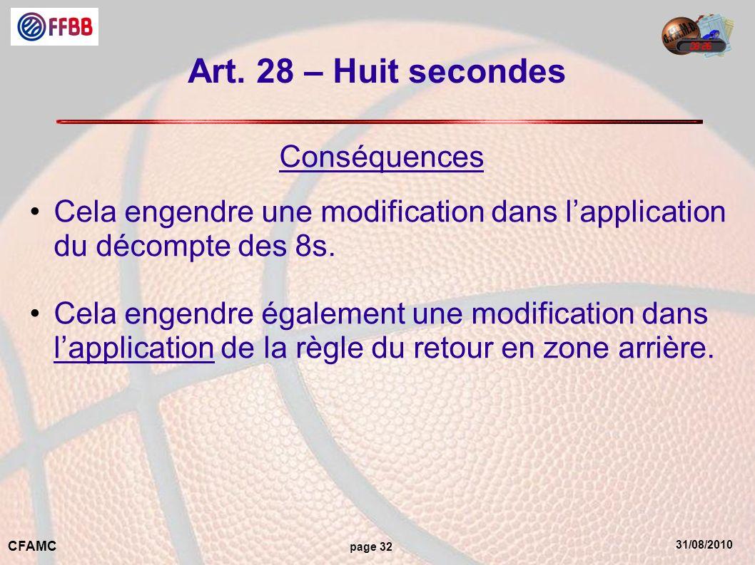 31/08/2010 CFAMC page 32 Art. 28 – Huit secondes Conséquences Cela engendre une modification dans lapplication du décompte des 8s. Cela engendre égale