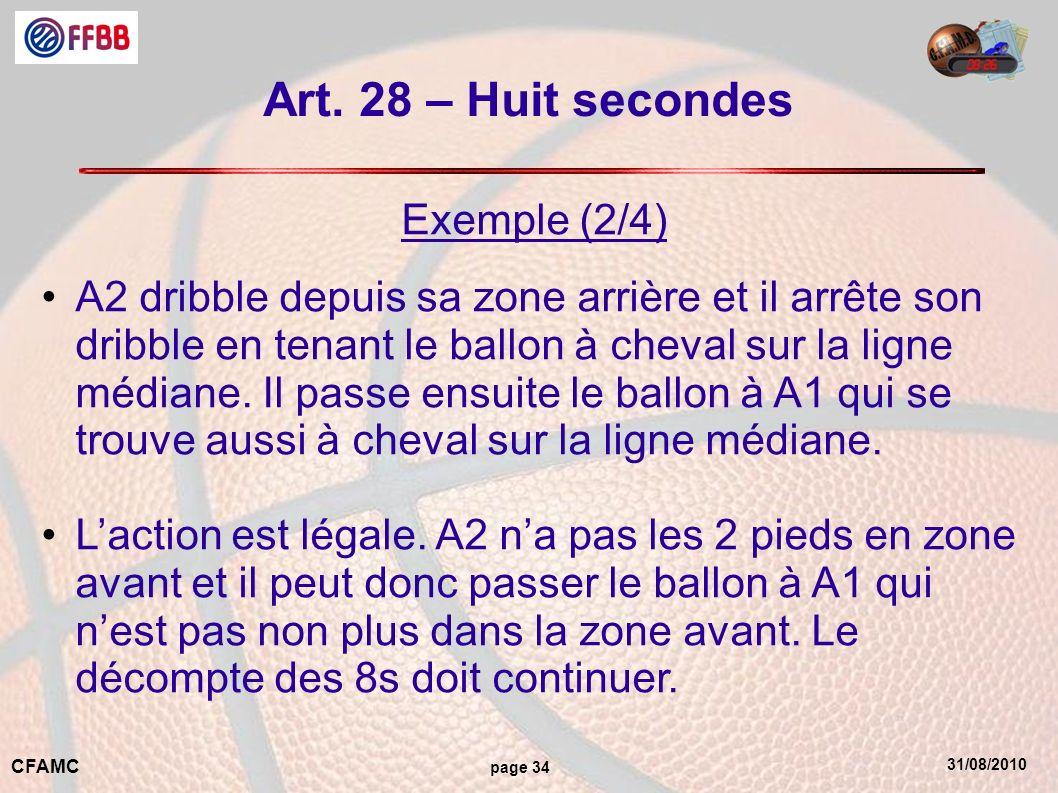31/08/2010 CFAMC page 34 Art. 28 – Huit secondes Exemple (2/4) A2 dribble depuis sa zone arrière et il arrête son dribble en tenant le ballon à cheval