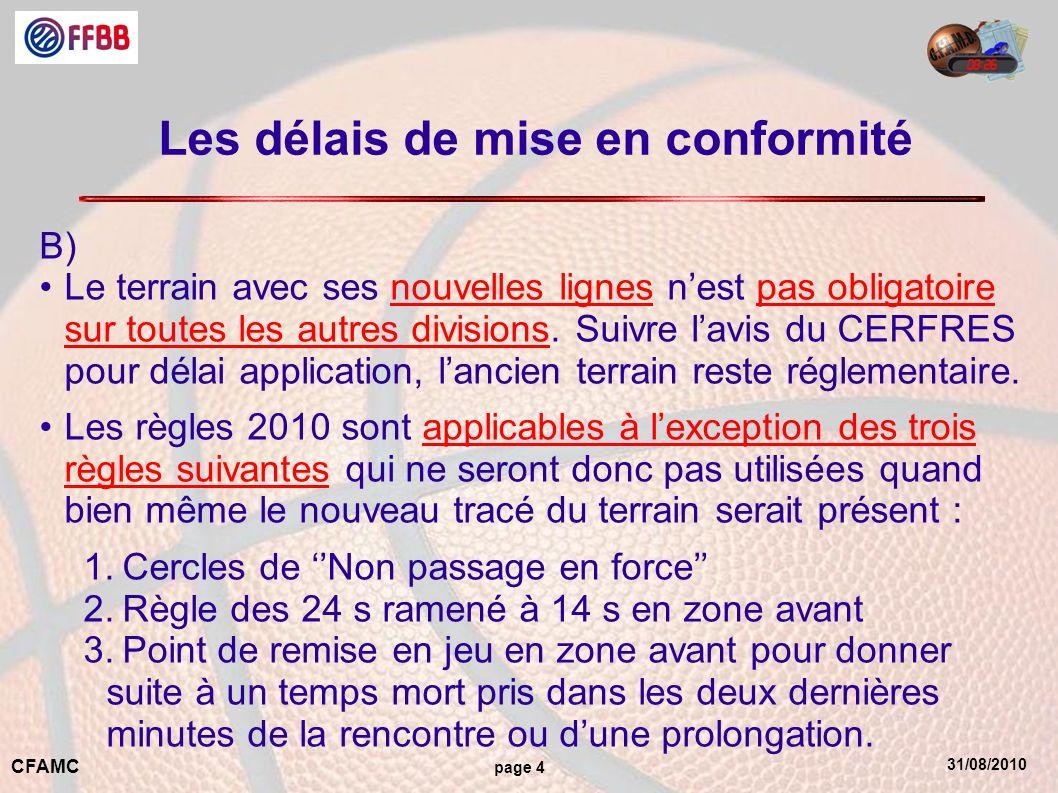 31/08/2010 CFAMC page 4 Les délais de mise en conformité B) Le terrain avec ses nouvelles lignes nest pas obligatoire sur toutes les autres divisions.