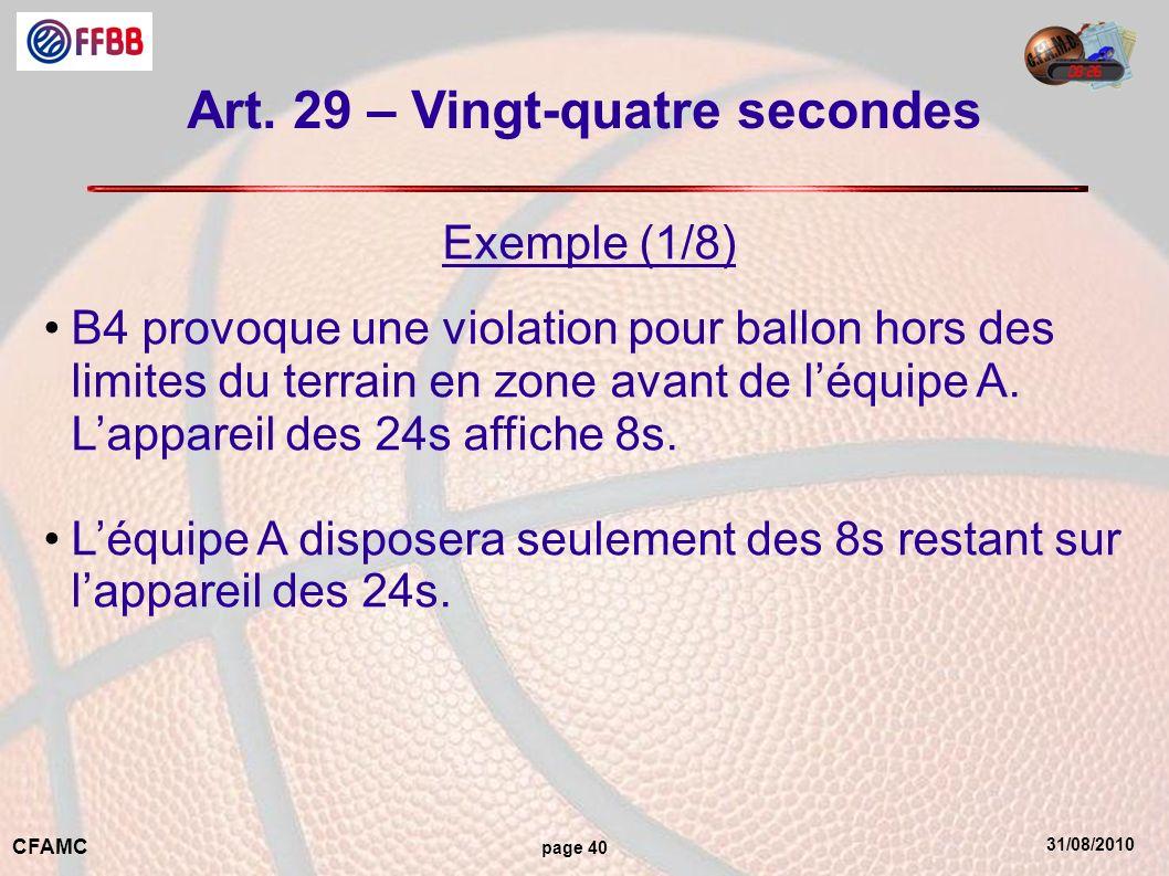 31/08/2010 CFAMC page 40 Art. 29 – Vingt-quatre secondes Exemple (1/8) B4 provoque une violation pour ballon hors des limites du terrain en zone avant