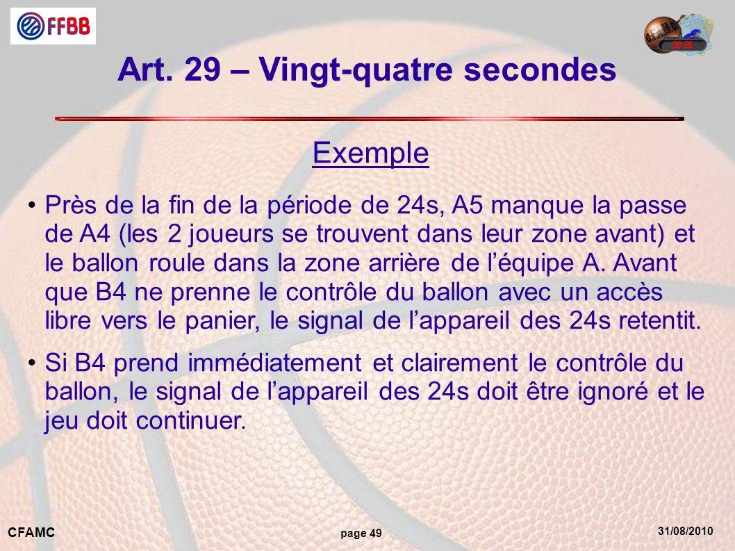 31/08/2010 CFAMC page 49 Art. 29 – Vingt-quatre secondes Exemple Près de la fin de la période de 24s, A5 manque la passe de A4 (les 2 joueurs se trouv