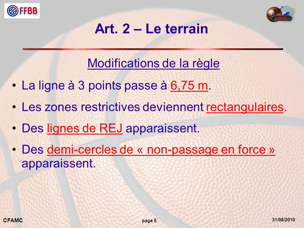31/08/2010 CFAMC page 5 Art. 2 – Le terrain Modifications de la règle La ligne à 3 points passe à 6,75 m. Les zones restrictives deviennent rectangula