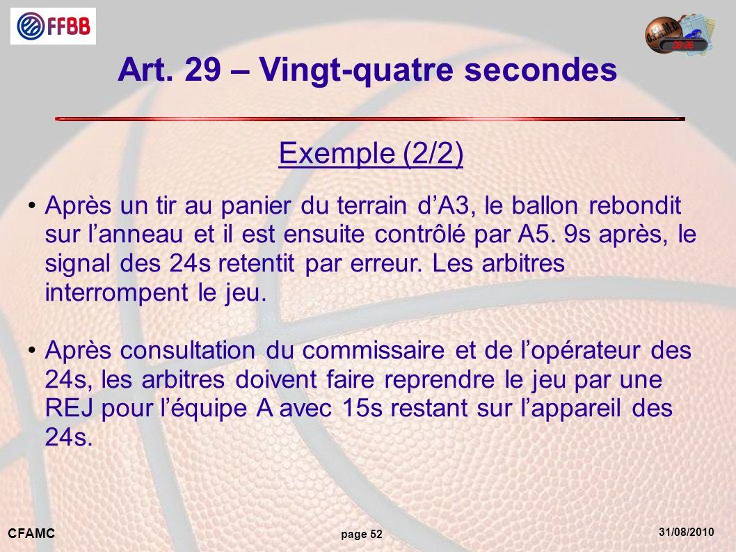 31/08/2010 CFAMC page 52 Art. 29 – Vingt-quatre secondes Exemple (2/2) Après un tir au panier du terrain dA3, le ballon rebondit sur lanneau et il est