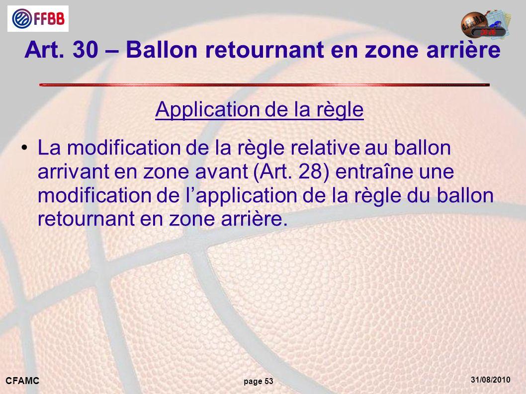 31/08/2010 CFAMC page 53 Art. 30 – Ballon retournant en zone arrière Application de la règle La modification de la règle relative au ballon arrivant e