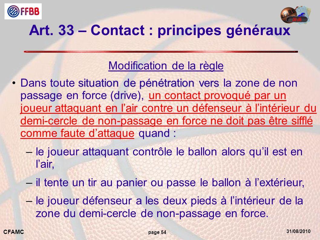 31/08/2010 CFAMC page 54 Art. 33 – Contact : principes généraux Modification de la règle situation de pénétration vers en lairDans toute situation de