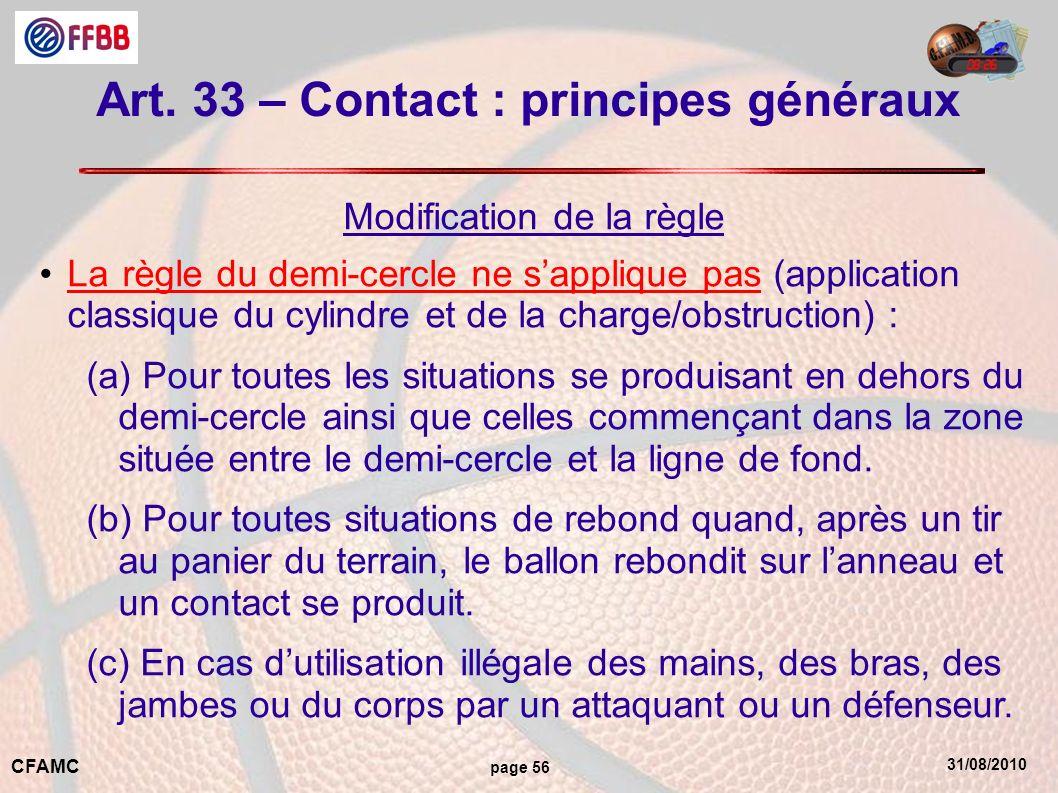 31/08/2010 CFAMC page 56 Art. 33 – Contact : principes généraux Modification de la règle Larègle du demi-cercle ne sapplique pas (application classiqu