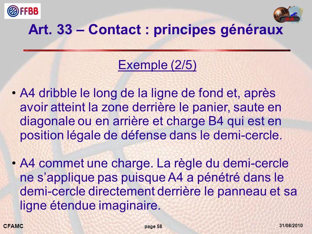 31/08/2010 CFAMC page 58 Art. 33 – Contact : principes généraux Exemple (2/5) A4 dribble le long de la ligne de fond et, après avoir atteint la zone d