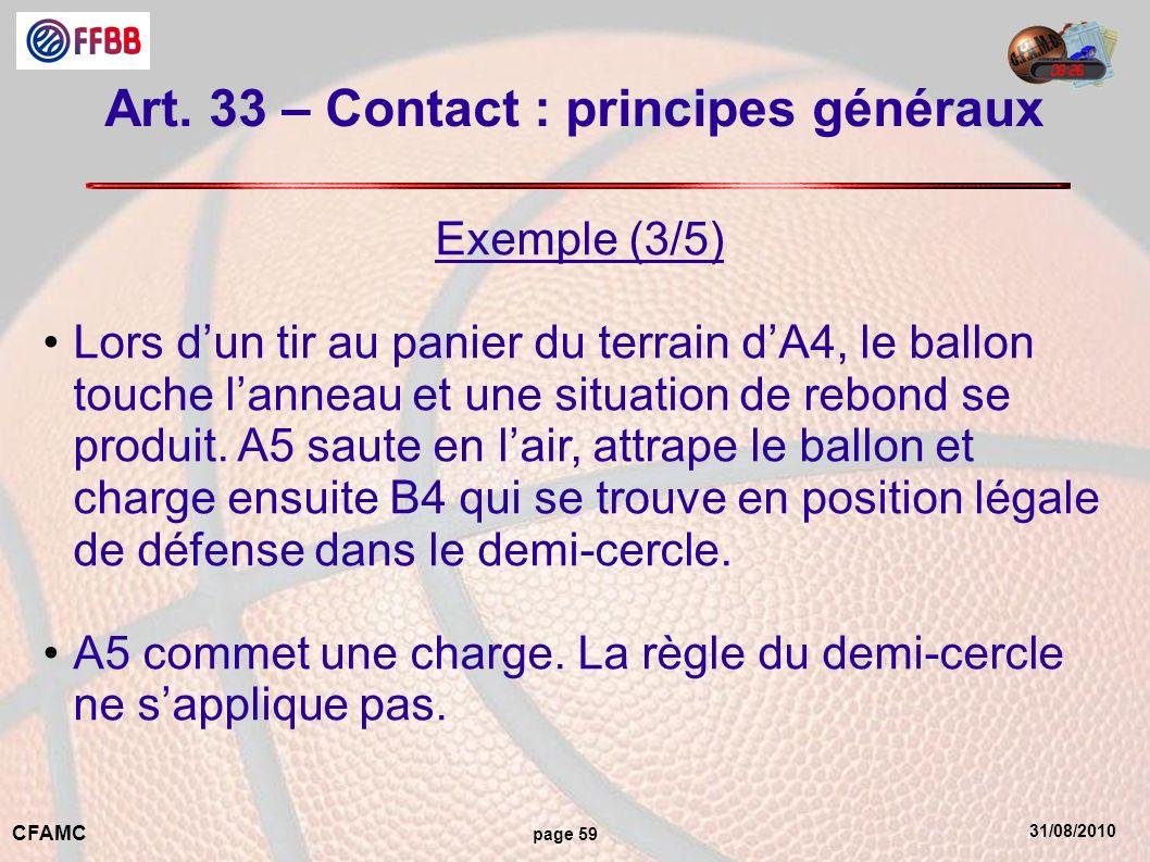 31/08/2010 CFAMC page 59 Art. 33 – Contact : principes généraux Exemple (3/5) Lors dun tir au panier du terrain dA4, le ballon touche lanneau et une s