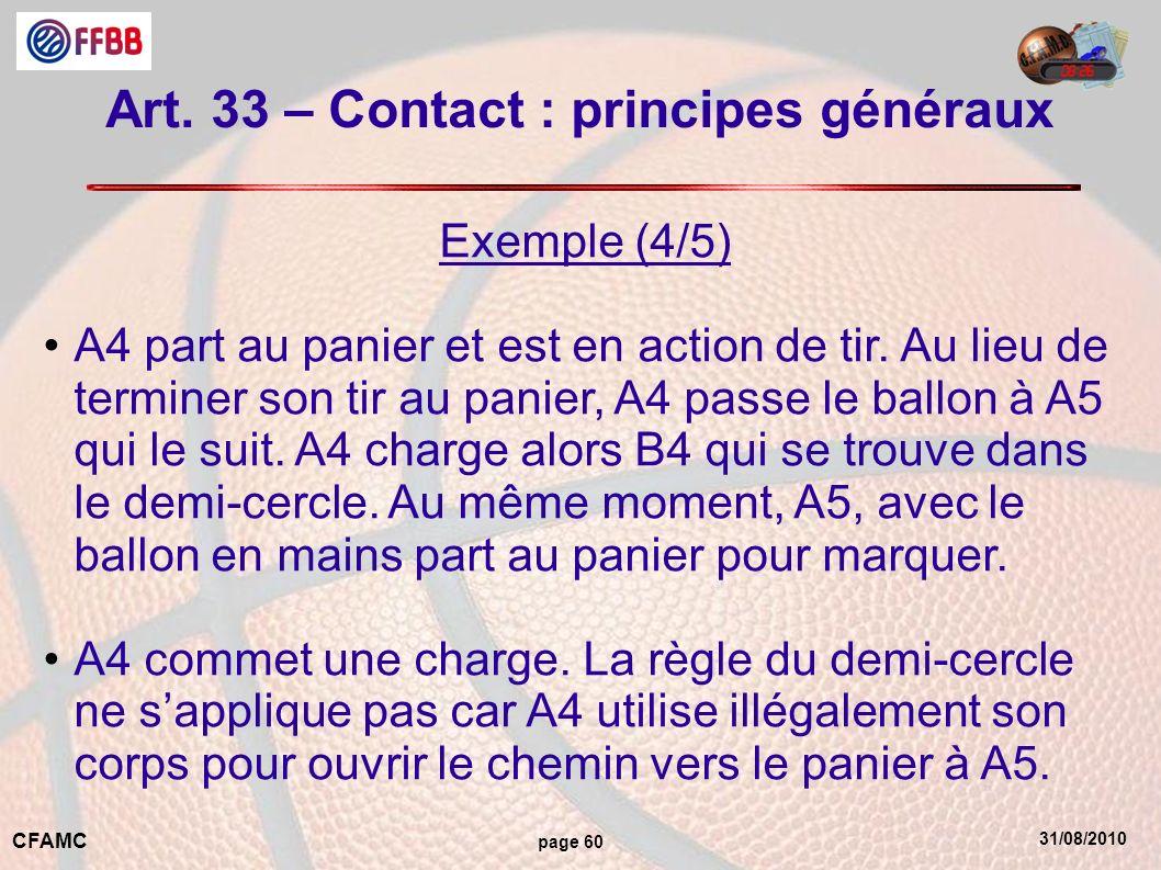 31/08/2010 CFAMC page 60 Art. 33 – Contact : principes généraux Exemple (4/5) A4 part au panier et est en action de tir. Au lieu de terminer son tir a