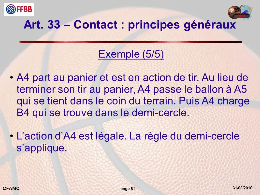 31/08/2010 CFAMC page 61 Art. 33 – Contact : principes généraux Exemple (5/5) A4 part au panier et est en action de tir. Au lieu de terminer son tir a