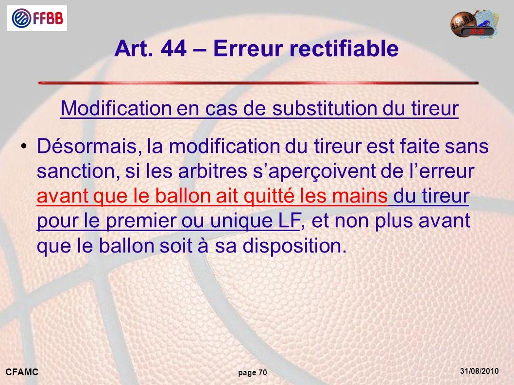 31/08/2010 CFAMC page 70 Art. 44 – Erreur rectifiable Modification en cas de substitution du tireur Désormais, la modification du tireur est faite san