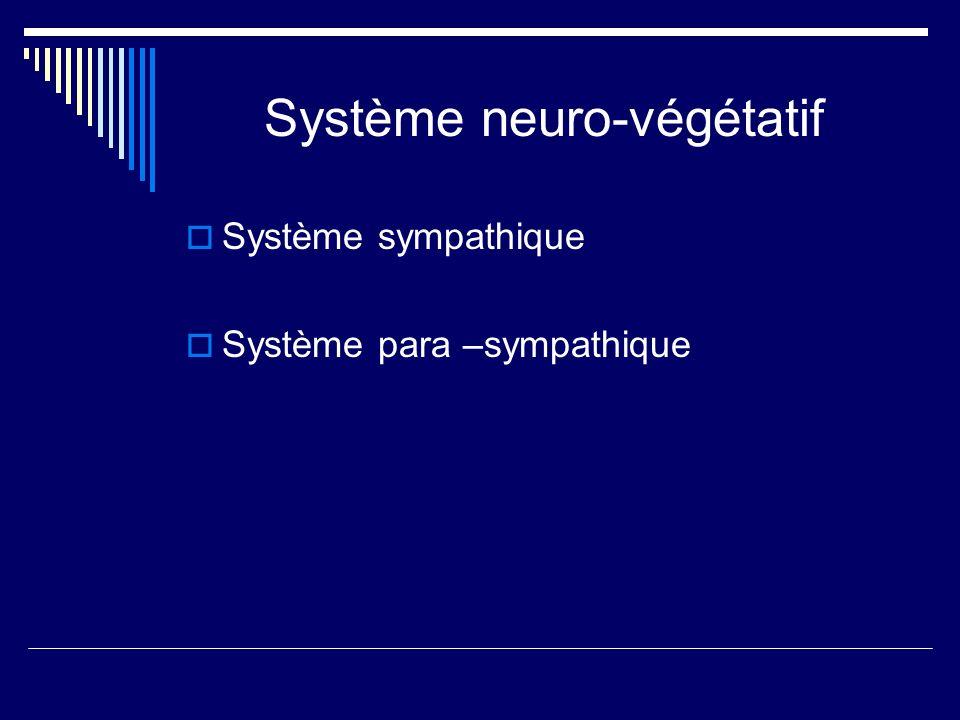 Système neuro-végétatif Système sympathique Système para –sympathique