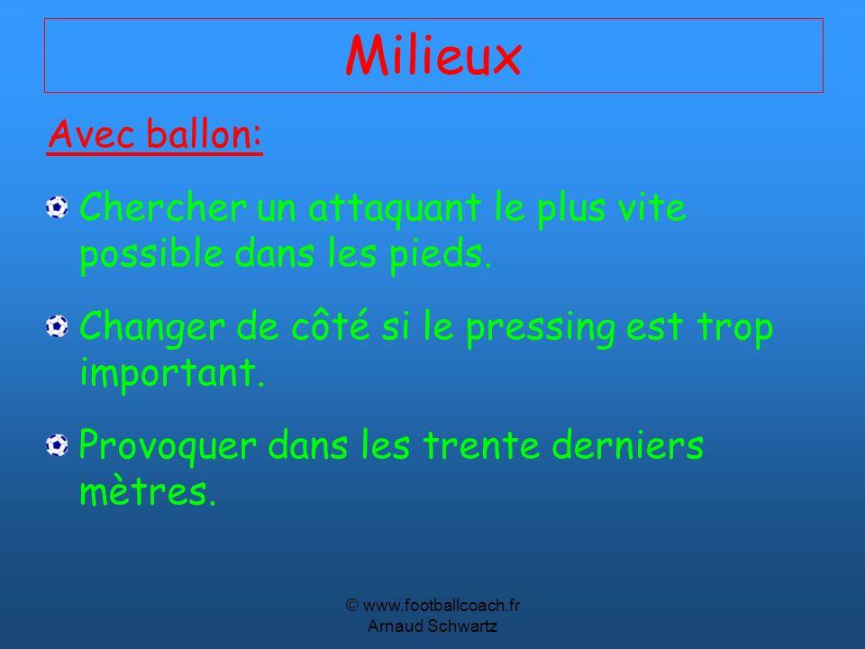 © www.footballcoach.fr Arnaud Schwartz Milieux Avec ballon: Chercher un attaquant le plus vite possible dans les pieds. Changer de côté si le pressing