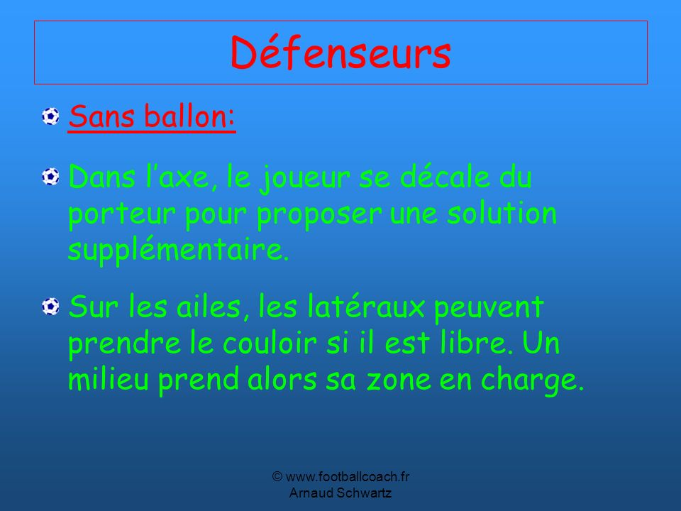 © www.footballcoach.fr Arnaud Schwartz Défenseurs Sans ballon: Dans laxe, le joueur se décale du porteur pour proposer une solution supplémentaire. Su