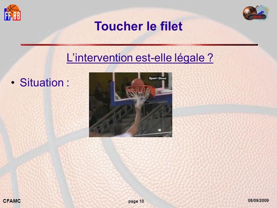 08/09/2009 CFAMC page 10 Toucher le filet Lintervention est-elle légale ? Situation :
