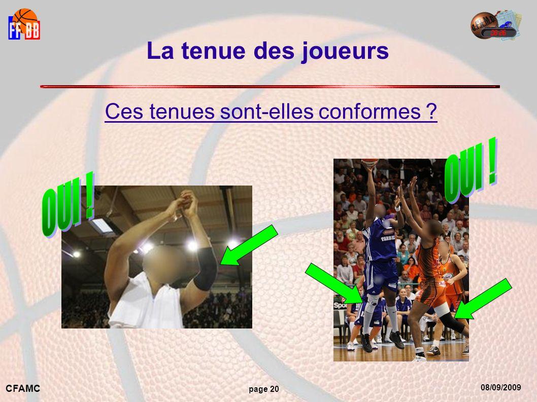 08/09/2009 CFAMC page 20 La tenue des joueurs Ces tenues sont-elles conformes ?