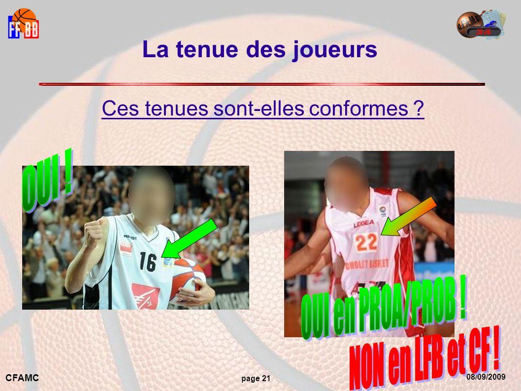 08/09/2009 CFAMC page 21 La tenue des joueurs Ces tenues sont-elles conformes ?
