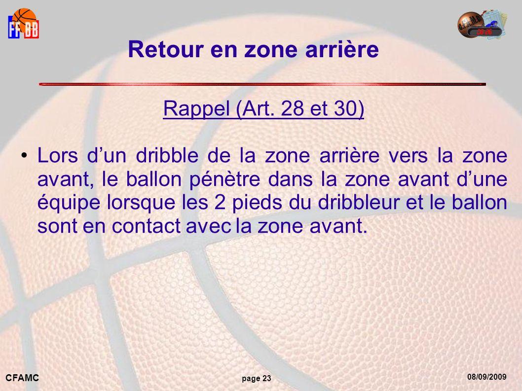 08/09/2009 CFAMC page 23 Retour en zone arrière Rappel (Art.